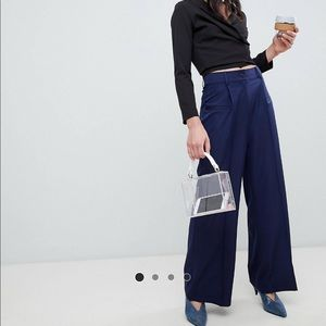 High Waisted Wide Leg Trousers in Navy